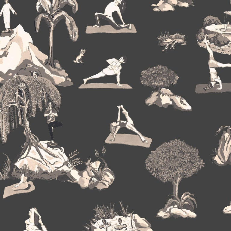 Forest Yoga Wallpaper Natural on Charcoal Color Way on Smooth Paper For Sale 1