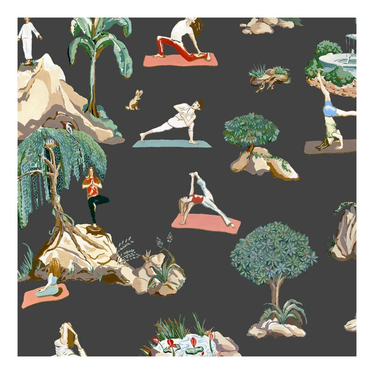 Forest Yoga Wallpaper Natural on Charcoal Color Way on Smooth Paper For Sale