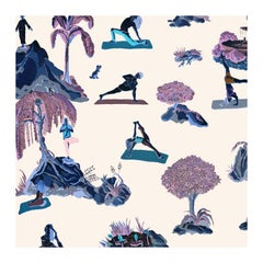 Forest Yoga Wallpaper Rave Color Way on Smooth Paper