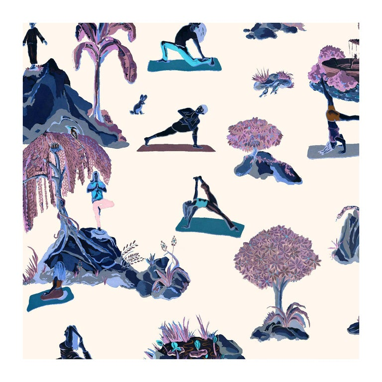 Forest Yoga Wallpaper Rave Color Way on Smooth Paper For Sale