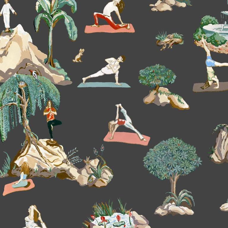 Forest Yoga Wallpaper Sepia on Charcoal Color Way on Smooth Paper For Sale 1