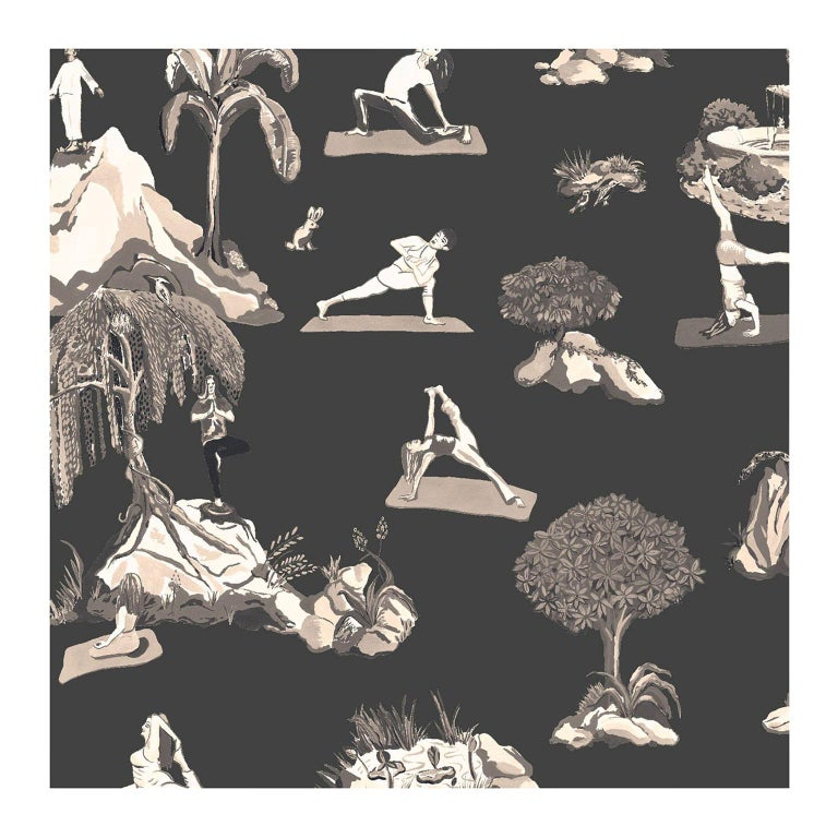 Forest Yoga Wallpaper Sepia on Charcoal Color Way on Smooth Paper For Sale