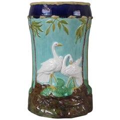 Forester Majolica Stork and Bamboo Garden Seat