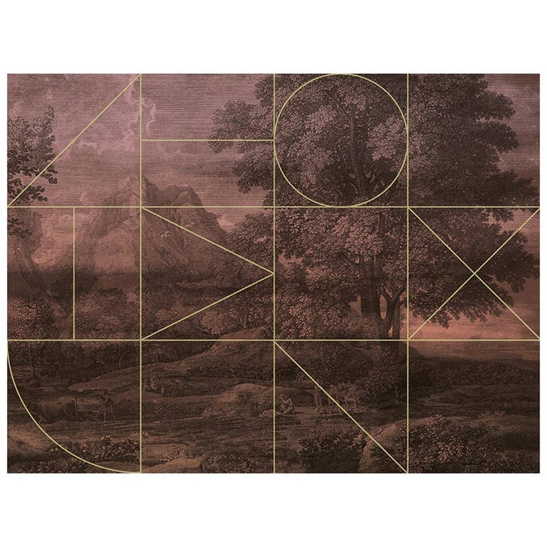 Forêt de Mien - custom mural wallpaper (color rust) For Sale