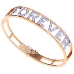 """FOREVER"" Gold Bangle Bracelet with Diamonds"