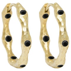 Forged Black Spinel Gold 14 Karat Hoop Earrings