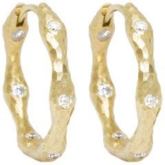 Forged Diamond Gold 14 Karat Hoop Earrings