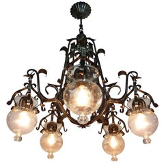 Forged Iron and Tole Cage-Form Chandelier with Five-Hanging Light Glass Globes