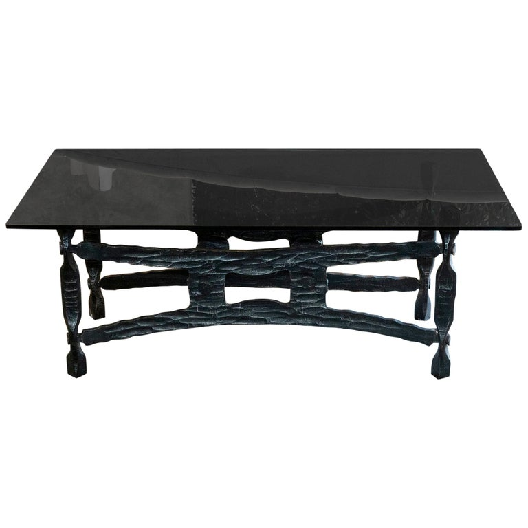 Glass Top Coffee Table With Iron Base: Forged Iron Coffee Table Base, Smoked Glass Top, France
