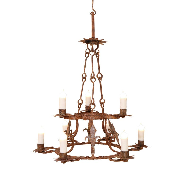 Forged Iron Two-Tier Chandelier For Sale 6