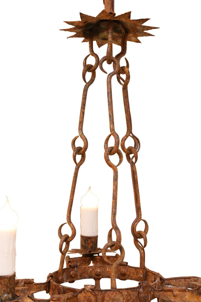 Forged Iron Two-Tier Chandelier For Sale 1