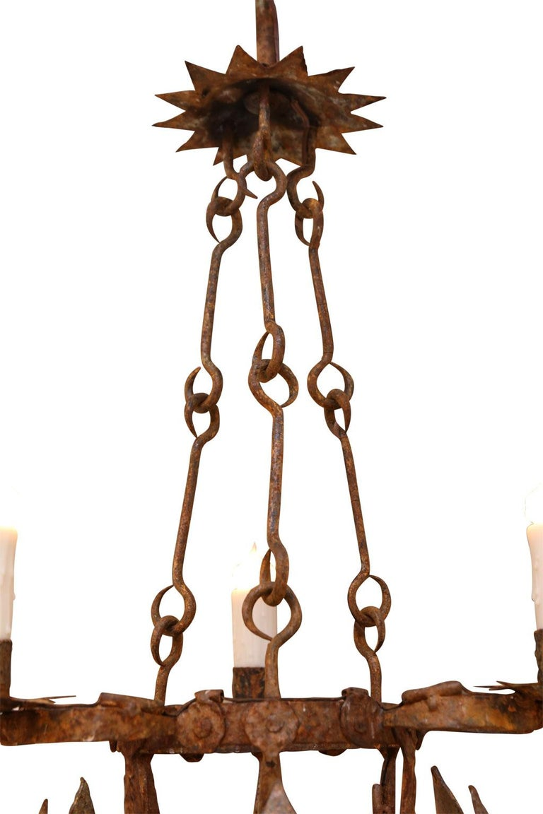 Forged Iron Two-Tier Chandelier For Sale 4