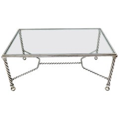 Forged Metal Twisted Rope Effect Silver Gilt Base Rectangle Coffee Table