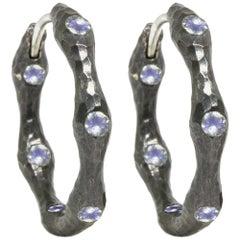 Forged Moonstone Black Oxidized Silver Hoop Earrings