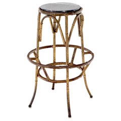 Forged Round Faux Bamboo Metal Stand with Marble Top