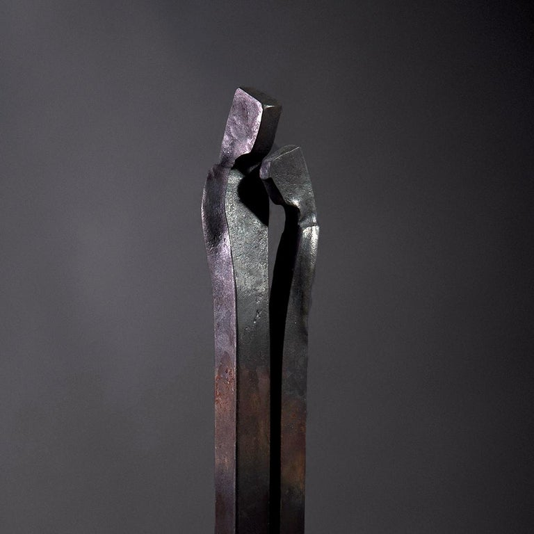 Forged Sculpture 'Encounter', Family Series by German Blacksmith H. Zimmermann In New Condition For Sale In Stuttgart, DE
