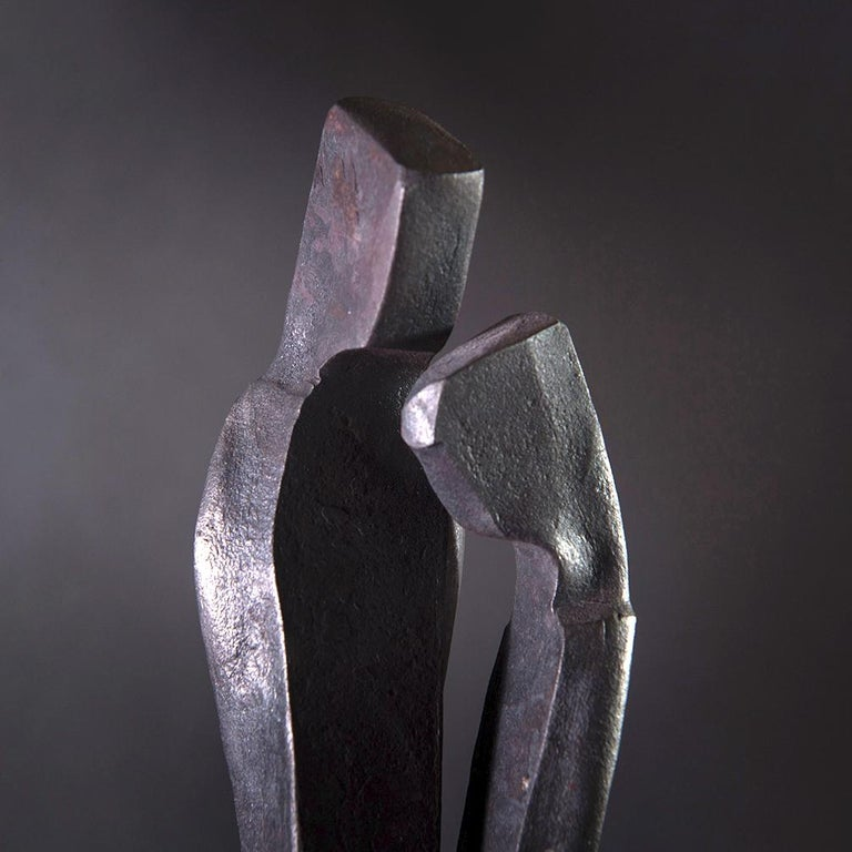 Contemporary Forged Sculpture 'Encounter', Family Series by German Blacksmith H. Zimmermann For Sale