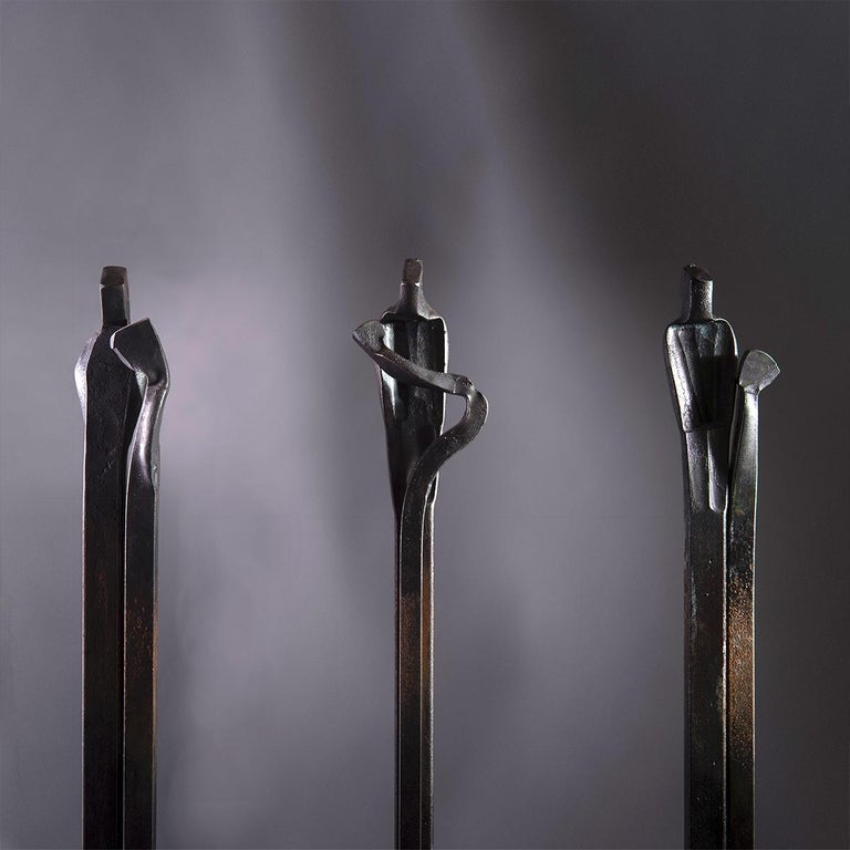 Steel Forged Sculpture 'Encounter', Family Series by German Blacksmith H. Zimmermann For Sale