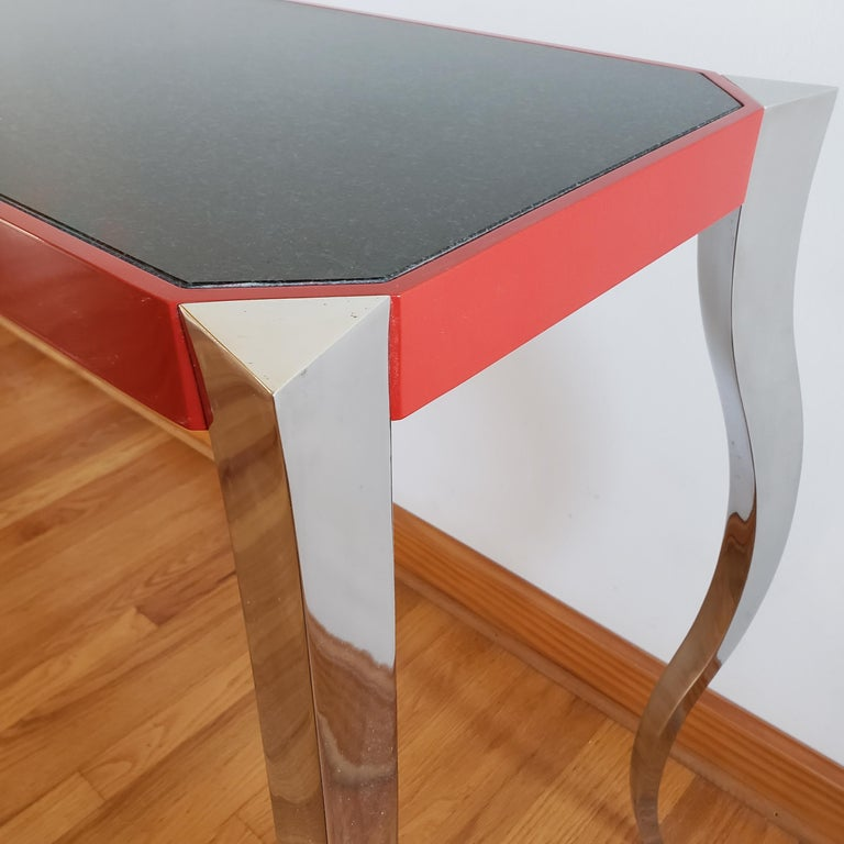 American Forged Stainless and Painted Steel Console by Curtis Norton For Sale