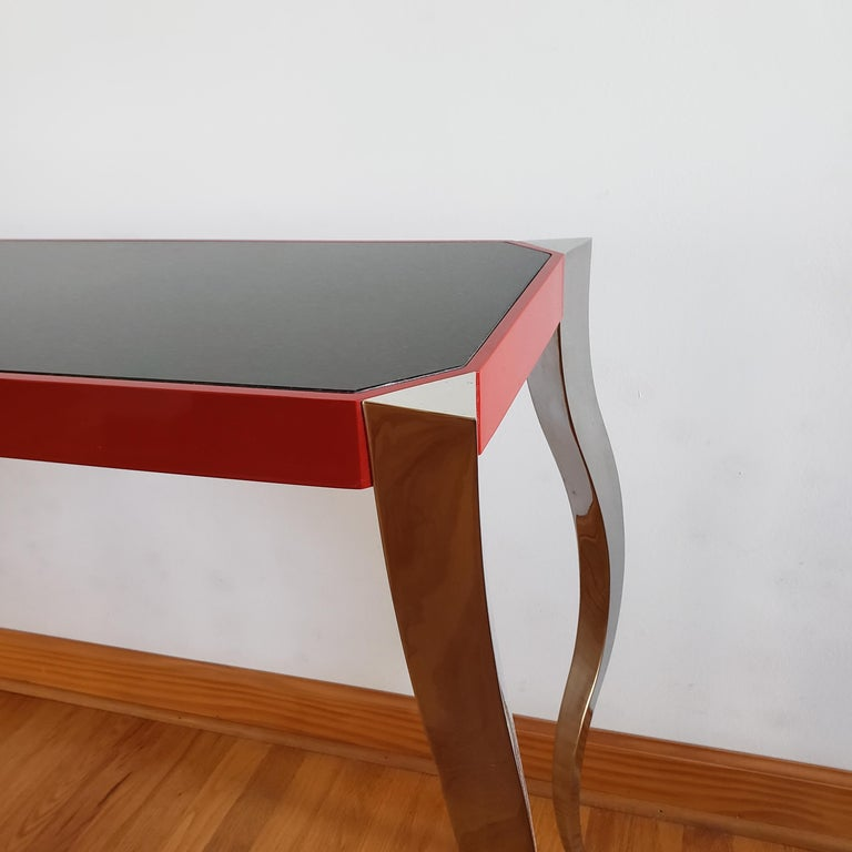 Forged Stainless and Painted Steel Console by Curtis Norton In Excellent Condition For Sale In Kilmarnock, VA