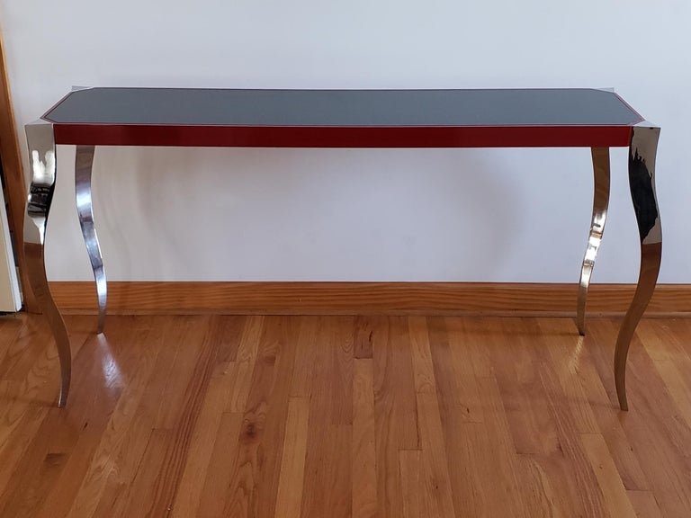 Contemporary Forged Stainless and Painted Steel Console by Curtis Norton For Sale