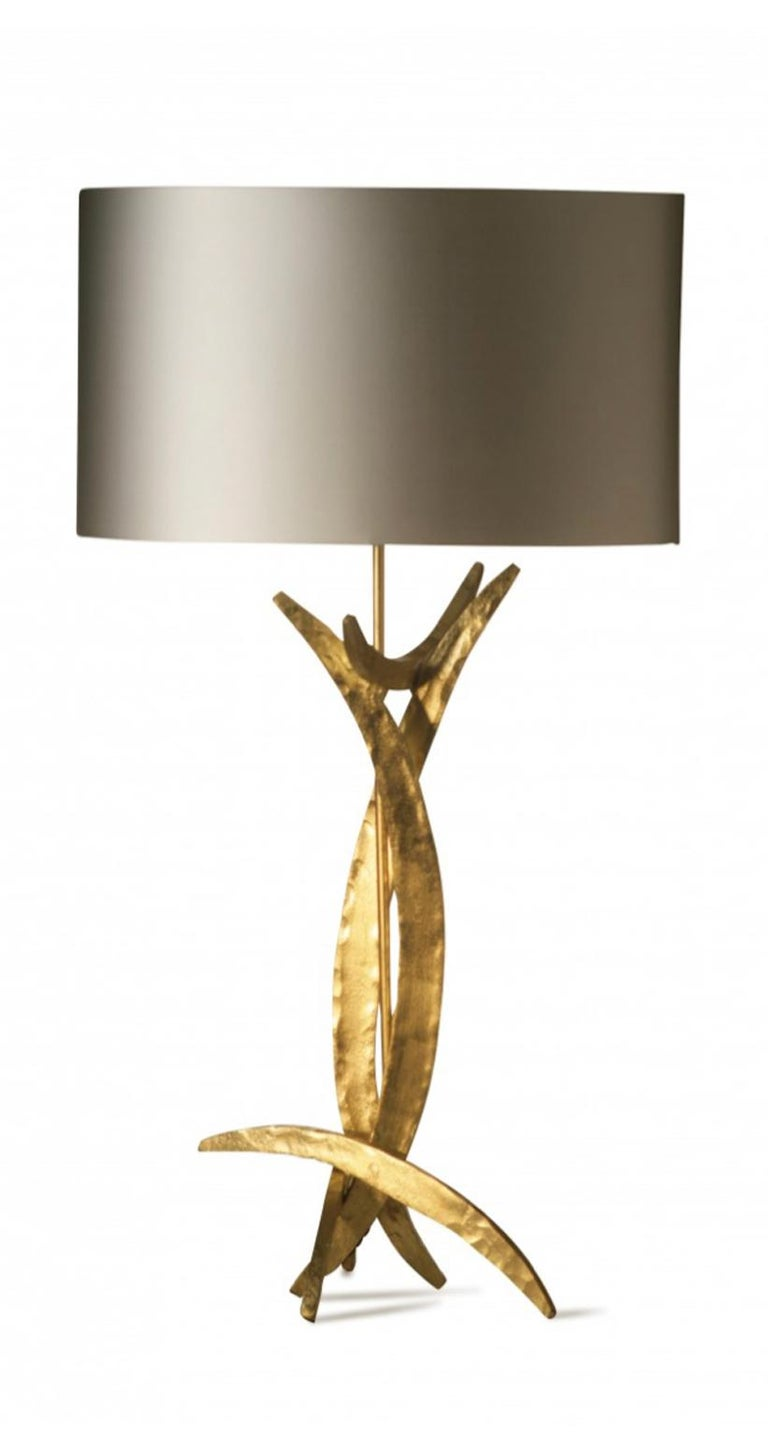 Modern Forged Steel in Bright Gold Finish Table Lamp with Oval Silk Lamp Shade For Sale