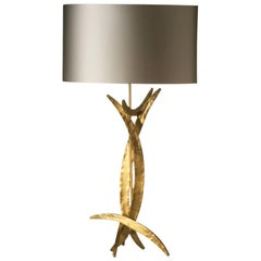 Forged Steel in Bright Gold Finish Table Lamp with Oval Silk Lamp Shade