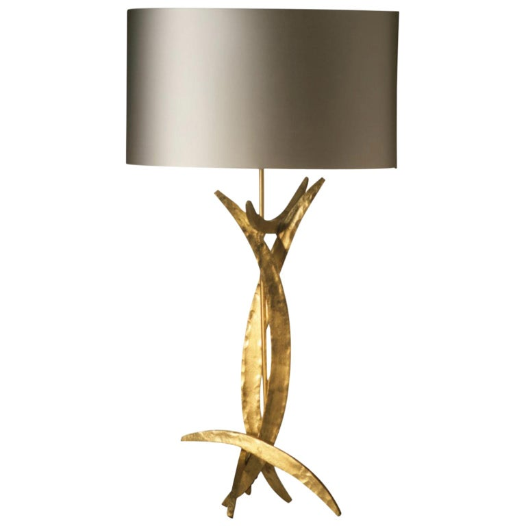 Forged Steel in Bright Gold Finish Table Lamp with Oval Silk Lamp Shade For Sale