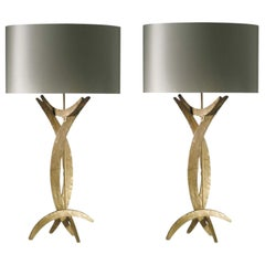 Forged Steel in Bright Gold Finish Table Lamps with Oval Silk Lamp Shades, Pair