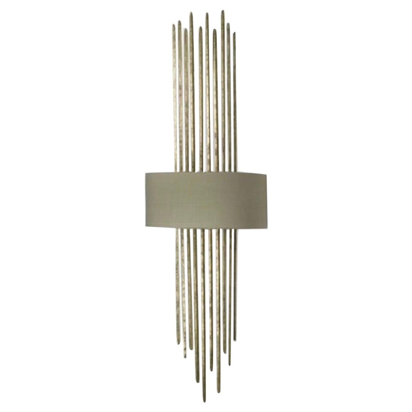 Forged Steel in White Gold Finish with Silk Lampshade Wall Light