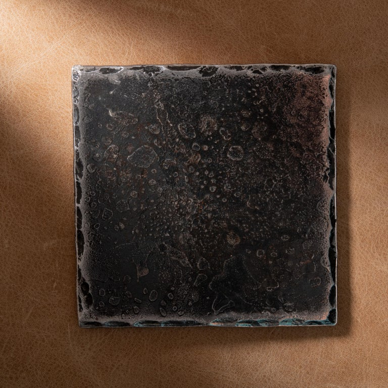 American Forged Steel Square Coaster with Hammered and Polished Edges For Sale