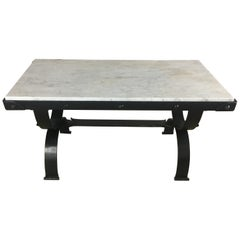 French Forged Iron and Italian Marble Coffee Table style Raymond Subes