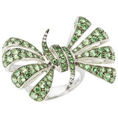Forget me Not 18 Carat White Gold Pave Tsavorite Bow Ring