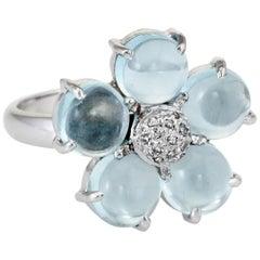 Forget Me Not Aquamarine Diamond Flower Cocktail Ring Vintage 14 Karat Gold