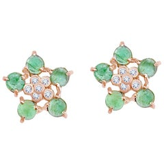 Forget-Me-Not Emerald and Diamond Flower Studs 18 Karat