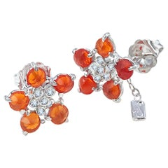 Forget-Me-Not Fire Opal and Diamond Flower Studs 18 Karat