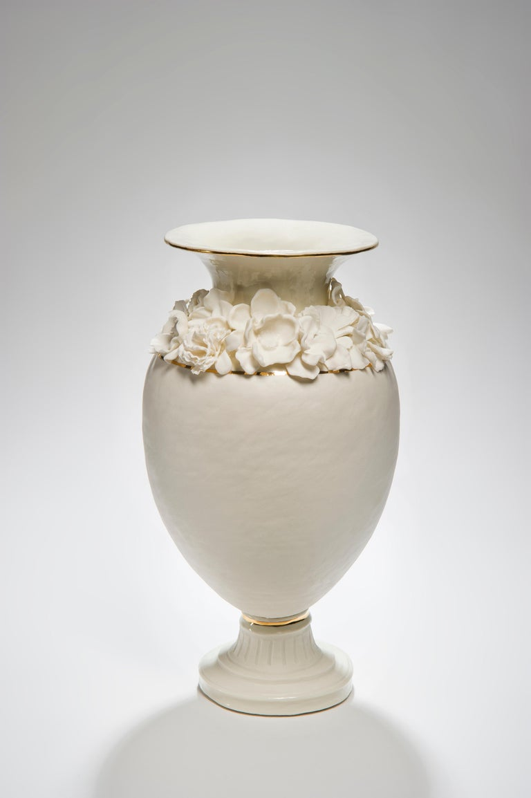 Contemporary Forget Me Not Footed Vases in Porcelain & gold, Floral Artworks by Amy Hughes For Sale