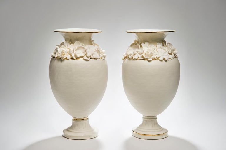 Gold Forget Me Not Footed Vases in Porcelain & gold, Floral Artworks by Amy Hughes For Sale
