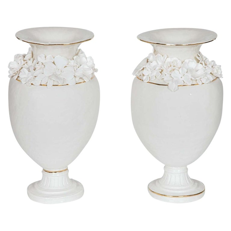 Forget Me Not Footed Vases in Porcelain & gold, Floral Artworks by Amy Hughes For Sale
