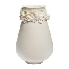 Forget Me Not Tall Vase in Porcelain and Gold, Floral Artwork by Amy Hughes