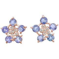 Forget-Me-Not Tanzanite and Diamond Flower Studs 18 Karat