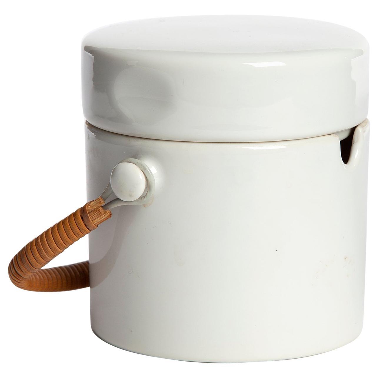 """Forma"" Series Porcelain Sugar Bowl with Cane Handle by La Gardo Tackett, 1960"