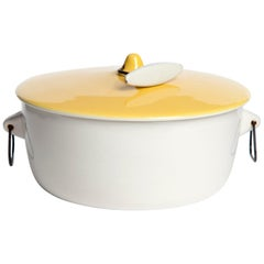 """""""Forma"""" Series Pot with Yellow Lid and White Handle by La Gardo Tackett, 1959"""