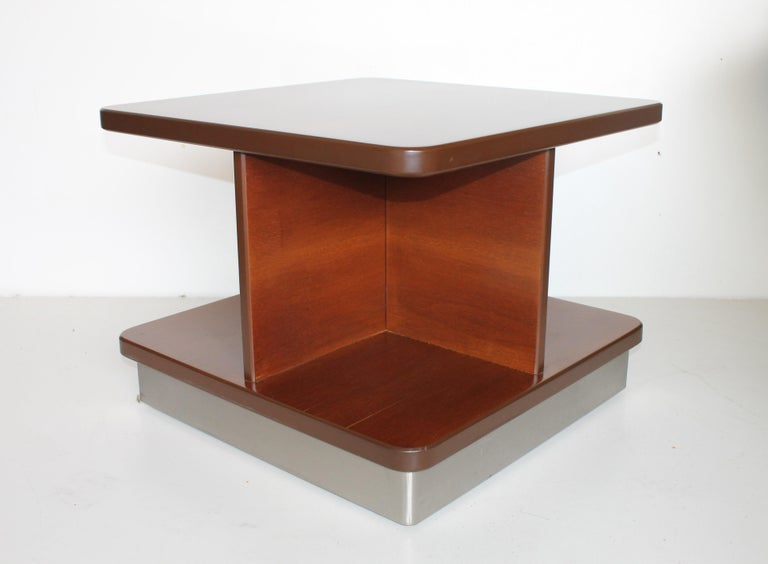 Laminated Mid-Century Rosewood Italian Coffee or Sofas Table with Wheels by Formanova 70s. For Sale