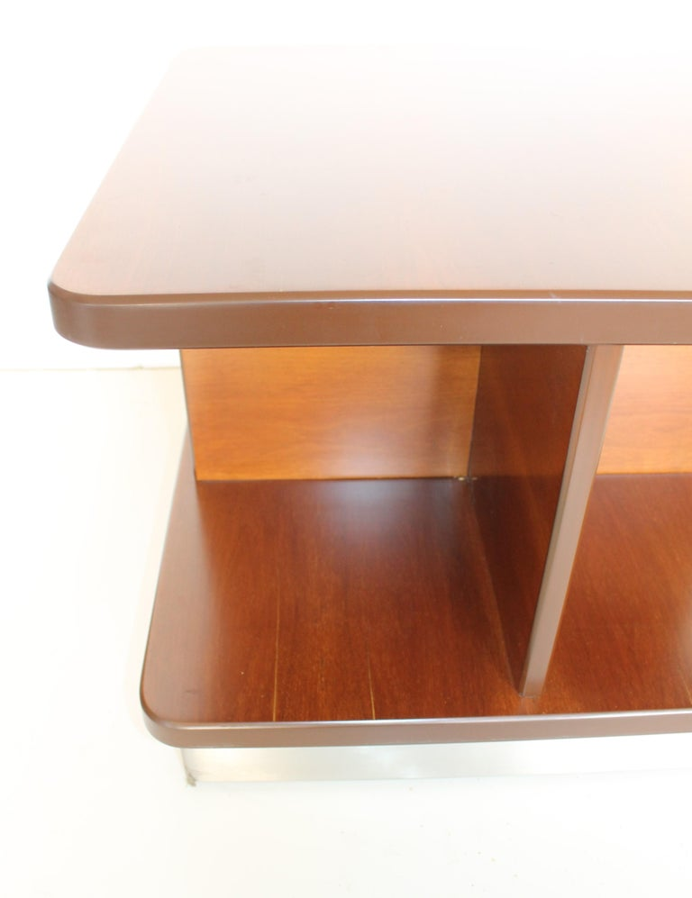 Steel Mid-Century Rosewood Italian Coffee or Sofas Table with Wheels by Formanova 70s. For Sale