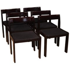 Formanova 20th Century Mahogany Wood and Fabric 6 Italian Design Chairs, 1980