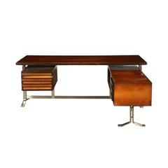 Formanova Desk Stained Beech and Maple Veneer, Italy, 1970s
