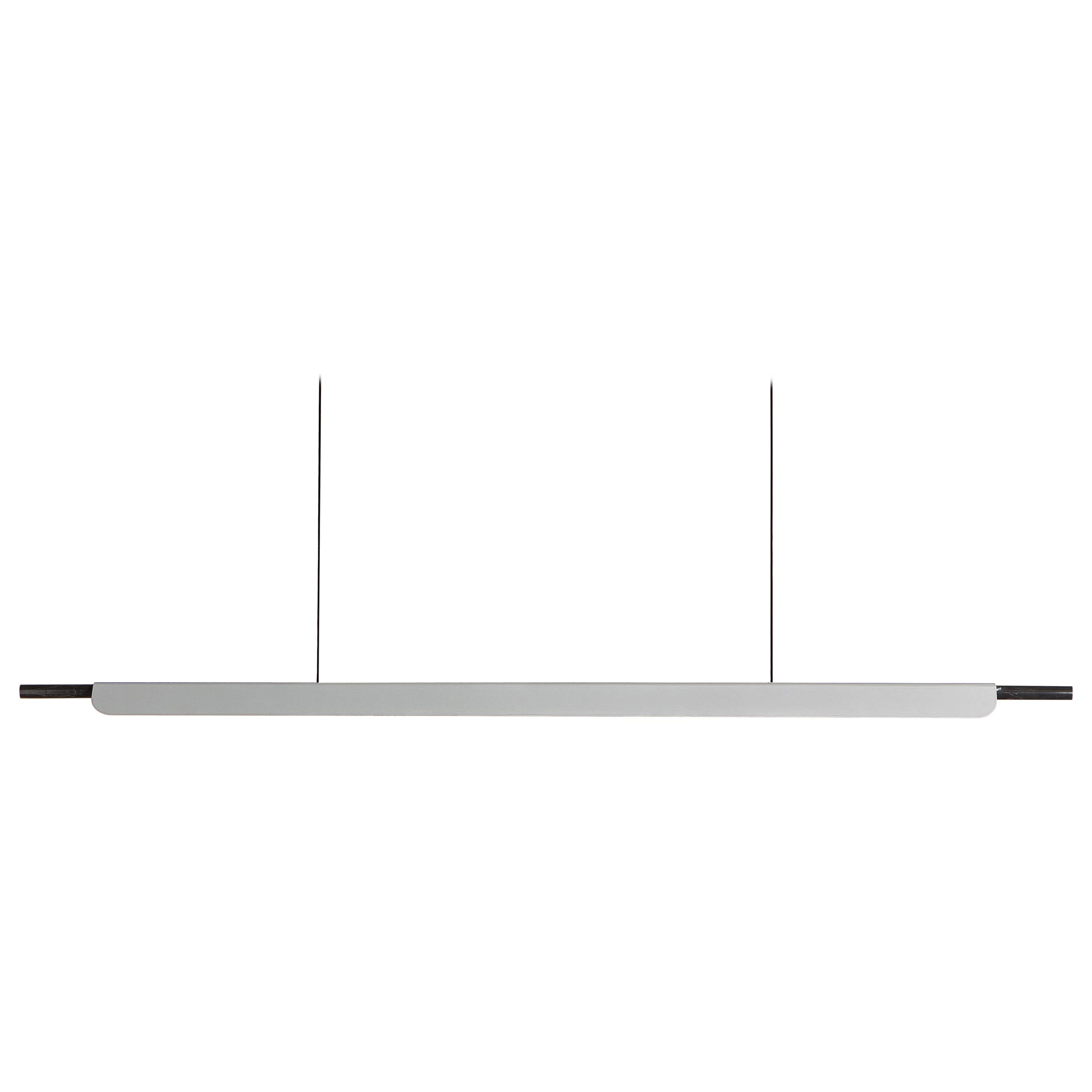 Formation Linear Pendant LED Aluminum Marble Fixture, Brushed Silver