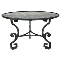 Formations Greek Key Antiqued Mirror Top Wrought Iron Dining Table