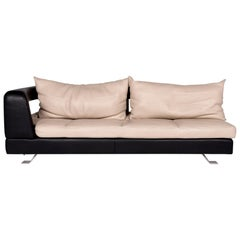 Formenti Leather Sofa Cream Dark Brown Three-Seat Couch